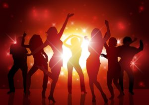 Party People Background - Dancing Silhouettes Illustration, Vector